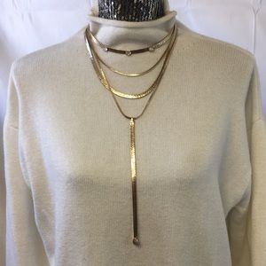 Free people gold chain opal lariat necklace New